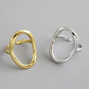 NEW SILVER / GOLD PLATED CIRCLE ADJUSTABLE RING
